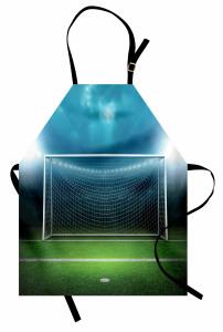 Futbol Sahası Desenli Mutfak Önlüğü Yeşil Saha