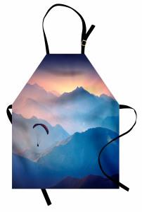 Yamaç Paraşütü Mutfak Önlüğü Gün Batımı Dağ Mavi