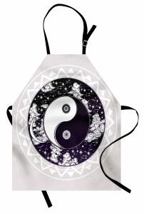 Yin ve Yang Temalı Mutfak Önlüğü Siyah Beyaz Yıldız
