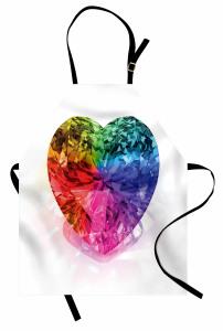 Rengarenk Pırlanta Kalp Mutfak Önlüğü Beyaz
