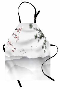 Kiraz ve Çam Ağaçları Mutfak Önlüğü Beyaz Fon