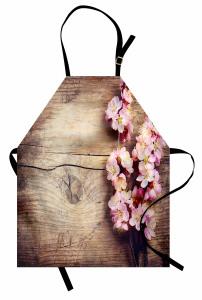 Kiraz Çiçeği Desenli Mutfak Önlüğü Ahşap Arka Planlı