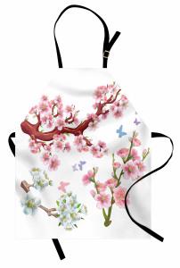 Beyaz Çiçekli Ağaç Mutfak Önlüğü Doğa