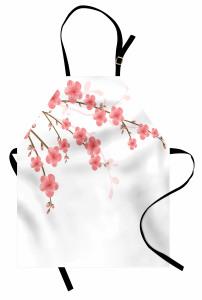 Pembe Çiçek ve Tomurcuk Mutfak Önlüğü Beyaz