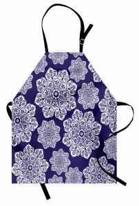 Çeyizlik Çiçekli Mutfak Önlüğü Çiçekli Lacivert Şık Tasarım