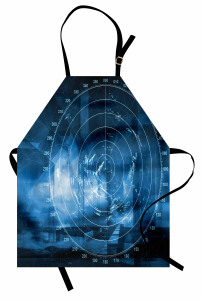 Gemi Radarı Desenli Mutfak Önlüğü Gemi Radarı Desenli Siyah
