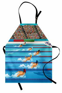 Kelebek Yüzme ve Havuz Desenli Mutfak Önlüğü Mavi