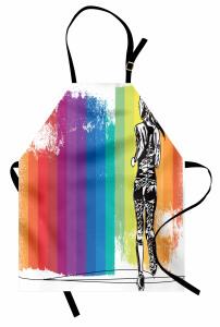 Şeritli Fon ve Koşucu Desenli Mutfak Önlüğü Rengarenk