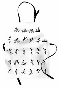 Dekoratif Sporcu Desenli Mutfak Önlüğü Siyah Beyaz