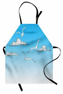 Martı ve Bulut Desenli Mutfak Önlüğü Mavi Gökyüzü