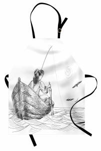 Şık Balıkçı ve Tekne Desenli Mutfak Önlüğü Siyah Beyaz