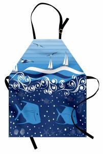 Mavi Martı Balık ve Tekne Desenli Mutfak Önlüğü Deniz