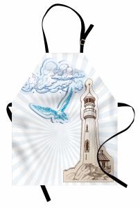 Bulut Mavi Martı ve Fener Desenli Mutfak Önlüğü Beyaz