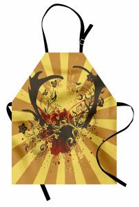 Çiçekli Geyik Boynuzu Mutfak Önlüğü Çiçek Geyik Boynuzu Kahverengi