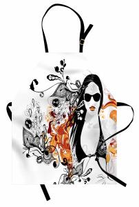 Yaz ve Bikinili Kız Mutfak Önlüğü Siyah Turuncu Çiçekli