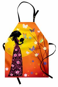 Çiçekli Elbiseli Kız Mutfak Önlüğü Kelebekler Güneş Çiçekler