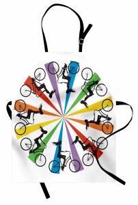 Gökkuşağı Temalı Bisikletli Kadınlar Mutfak Önlüğü Bisikletli Kadınlar