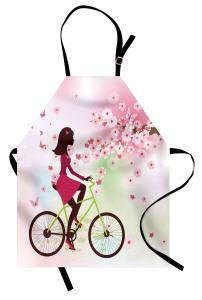 Bisikletli Kız Desenli Mutfak Önlüğü Bahar Çiçekleri ve Bisikletli Kız