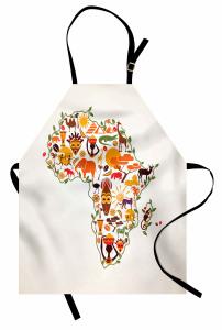 Afrika Haritası Temalı Mutfak Önlüğü Etnik Turuncu Fil