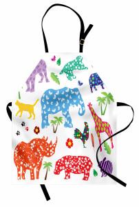 Rengarenk Hayvan Desenli Mutfak Önlüğü Fil Zürafa
