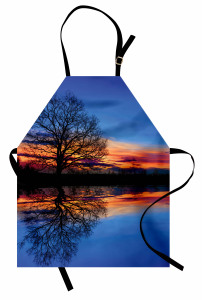 Gölde Gün Batımı Temalı Mutfak Önlüğü Mavi Turuncu