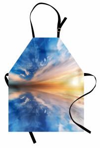 Gün Batımı Temalı Mutfak Önlüğü Mavi Gökyüzü Sarı
