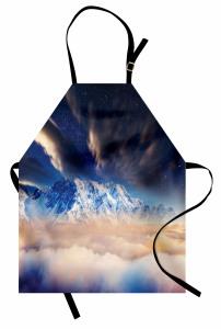 Karlı Dağ Manzaralı Mutfak Önlüğü Gökyüzü Yıldız Bulut