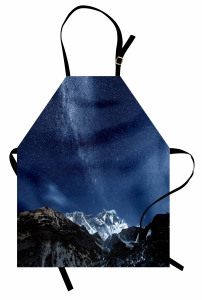 Yıldız ve Dağ Temalı Mutfak Önlüğü Lacivert Gökyüzü