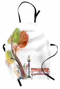 Sulu Boya Ağaç Mutfak Önlüğü Sonbahar Beyaz