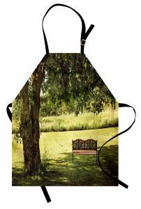 Ağaç Gölgesi Desenli Mutfak Önlüğü Ağaç Gölgesi Yeşil