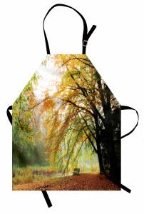 Bir Sonbahar Manzarası Mutfak Önlüğü Nehir Orman Ağaç Yeşil