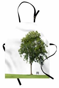 Parktaki Ağaç Mutfak Önlüğü Ağaç Yeşil Beyaz
