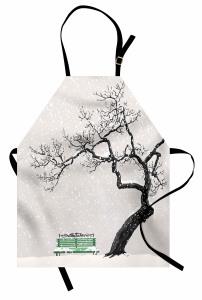 Kış Mevsimi Mutfak Önlüğü Romantik Beyaz