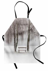 Kar ve Ağaç Mutfak Önlüğü Doğa Ağaçlar Beyaz