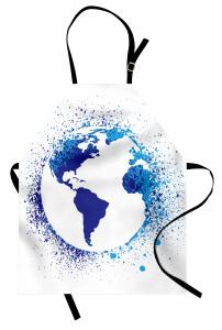 Dünya Haritası Desenli Mutfak Önlüğü Lacivert Beyaz