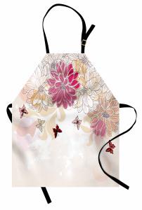 Çiçek Desenli Mutfak Önlüğü Pembe Beyaz Şık Tasarım