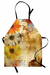 Çiçek Desenli Mutfak Önlüğü Kahverengi Nostaljik Şık