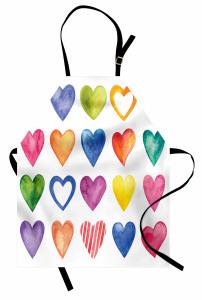 Sulu Boya Kalp Desenli Mutfak Önlüğü Renkli Kalp Deseni