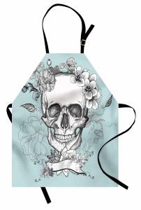 Kuru Kafa ve Çiçekler Mutfak Önlüğü Kurukafa ve Çiçekler Temalı
