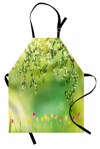 Laleler ve Ağaçlar Mutfak Önlüğü Renkli Laleler Ağaç Doğa Bahar