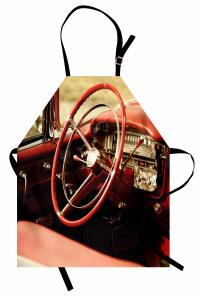 Retro Araba Mutfak Önlüğü Kırmızı Klasik Araba Retro