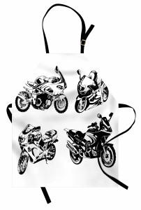 Motosiklet Severler İçin Mutfak Önlüğü Siyah Beyaz
