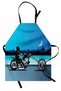 Motosiklet Desenli Mutfak Önlüğü Mavi Siyah Yıldız Ay