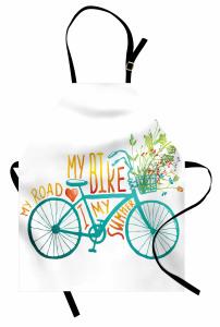 Bisiklet ve Çiçek Desenli Mutfak Önlüğü Mavi Yeşil