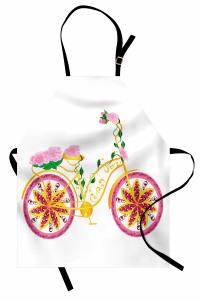 Pembe Bisiklet Desenli Mutfak Önlüğü Çiçek Sarı Yeşil