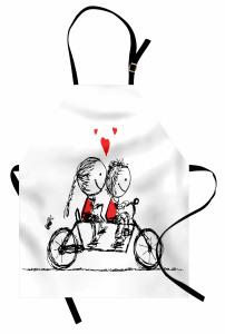 Bisikletli Aşıklar Temalı Mutfak Önlüğü Siyah Kırmızı