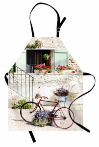 Çiçek ve Bisiklet Desenli Mutfak Önlüğü Krem Pembe