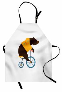 Bisikletli Ayı Desenli Mutfak Önlüğü Kahverengi Mavi