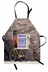 Retro Bisiklet Desenli Mutfak Önlüğü Kahverengi Sarı