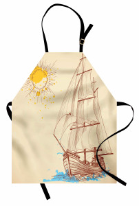 Yelkenli Desenli Mutfak Önlüğü Deniz Bej Mavi Sarı